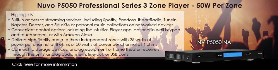 Nuvo NV-P5050-NA Professional Series 3 Zone Player
